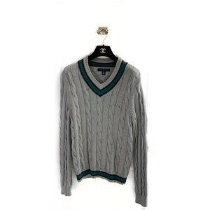 Tommy Hilfiger Cable Knit Cricket V-Neck Sweater
